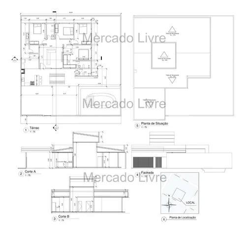 Projetos arquitetônico, elétrico e hidrossanitário