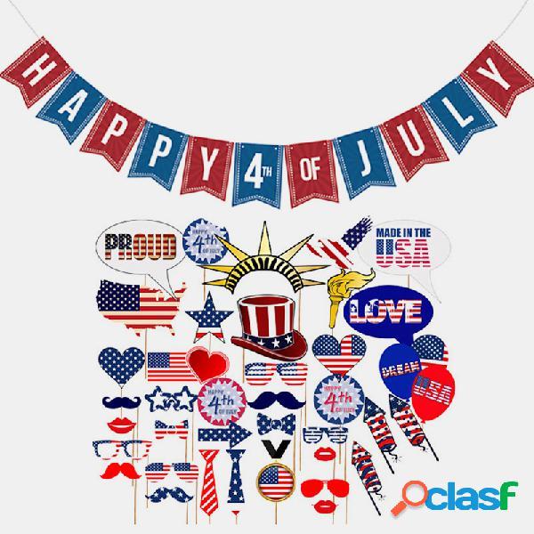 40 pçs / set 4 de julho conjuntos de louça descartáveis para festas temáticas us bandeira nacional design conjuntos de decouações decouações para o dia da independência americana