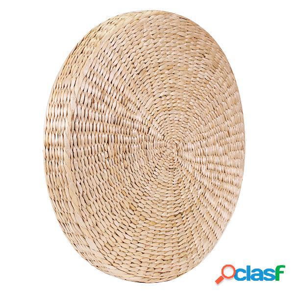 50 x 6 cm de espessura redonda pufe tatami palha natural meditação mat almofada piso yoga esteira de vime