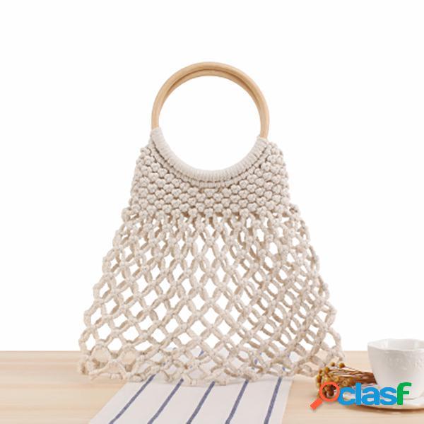 Tecidos net praia bolsa bolsa sólida para mulheres