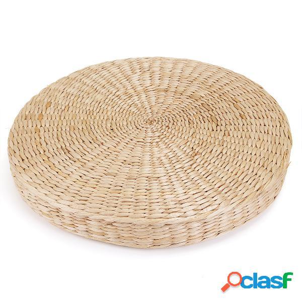 45 x 6 cm de espessura redonda pufe tatami palha natural meditação mat almofada piso yoga tapete de vime
