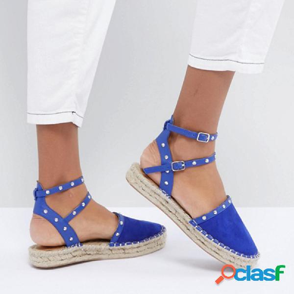 Tamanho grande mulheres comfy rivet buckle calçado fechado toe plataforma sandálias
