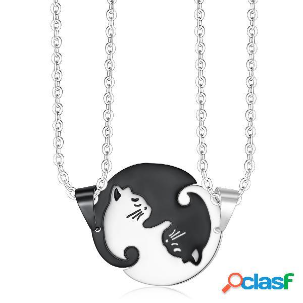 Geométrico na moda animal colar de aço inoxidável gato doce bonito pingente colar de quebra-cabeça casal