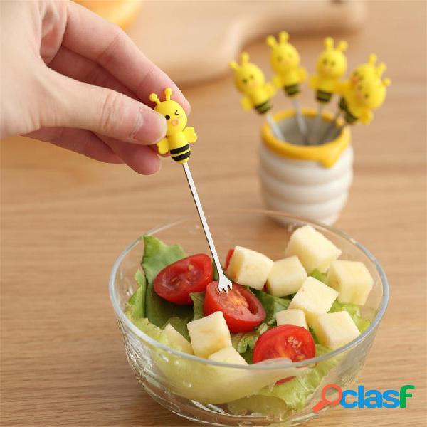 6 pcs silicone abelha fruit garfos mini animal dos desenhos animados de aço inoxidável salada de sobremesa garfo de frutas picaretas