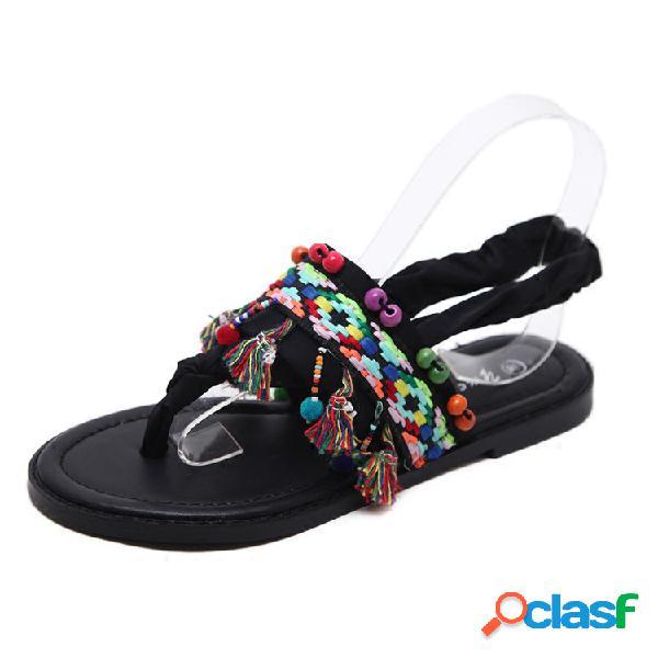 Colorful sandálias retro preto boêmio