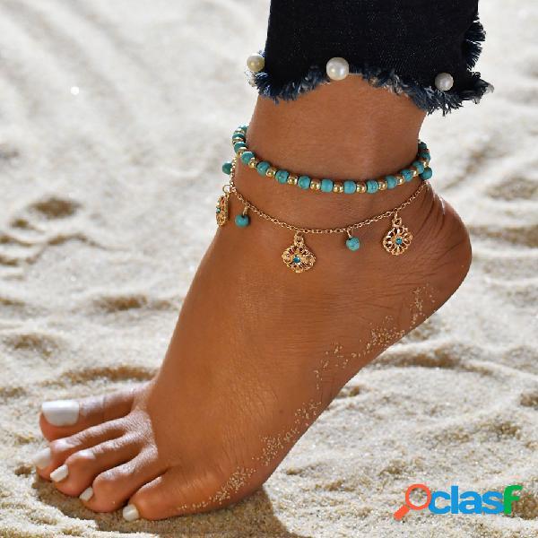 Vintage hallow flor tornozeleira ouro tornozeleira turquesa mulheres pingente de tornozeleira 2 pçsset conjunto tornozeleira