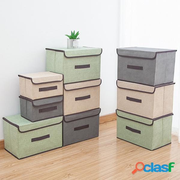 2pcs armazenamento multiuso à prova de poeira caixa roupas e artigos diversos organizador cestas de pano dobrável