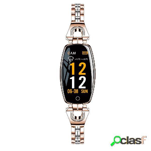 Pulseira elegante assista mulheres diamante relógio inteligente de aço inoxidável pulseira atividade monitor de pressão arterial hr