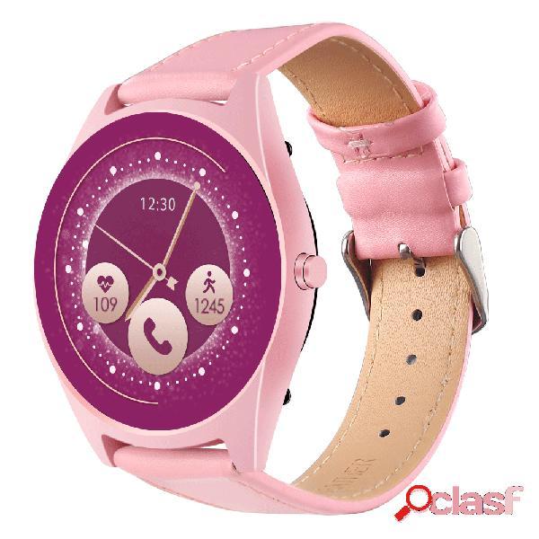 Moda pulseira de couro mulheres relógio inteligente tela 2.5d controle de voz pressão sanguínea monitor de atividade chamada bluetooth
