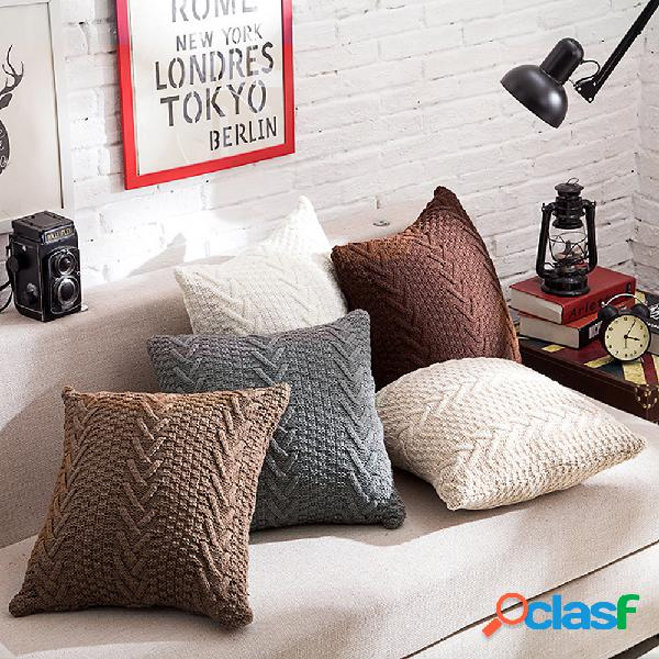 Moda knitting throw pillow cases café sofá capa de almofada home decor