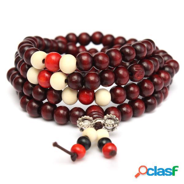 Vintage unisex 108 pcs 8mm sandalwood buddha beads colar pulseira multicamada jóias étnicas
