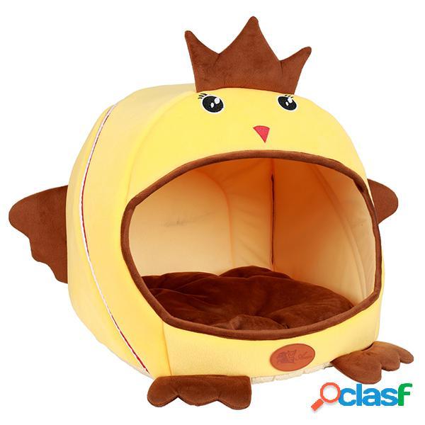Cama de gato com cachorro em forma de frango em forma de cano, a fibra de lavagem das mãos pode ser dobrada em uma cama de animal de estimação, dormir