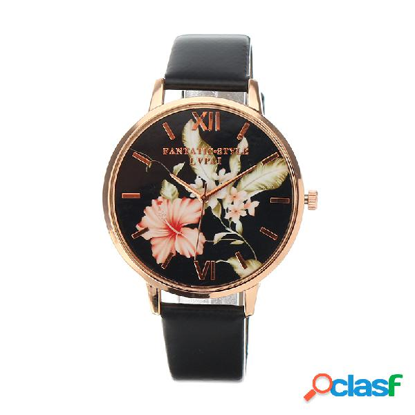 Lvpai relógio retro elegante feminino com folhas flor
