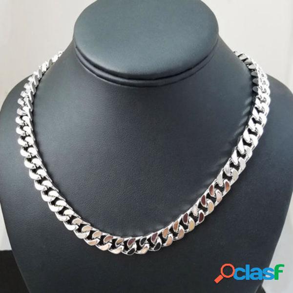 Cadeia de declaração de prata colar de aço inoxidável grosso colar de corrente de jóias de moda para as mulheres
