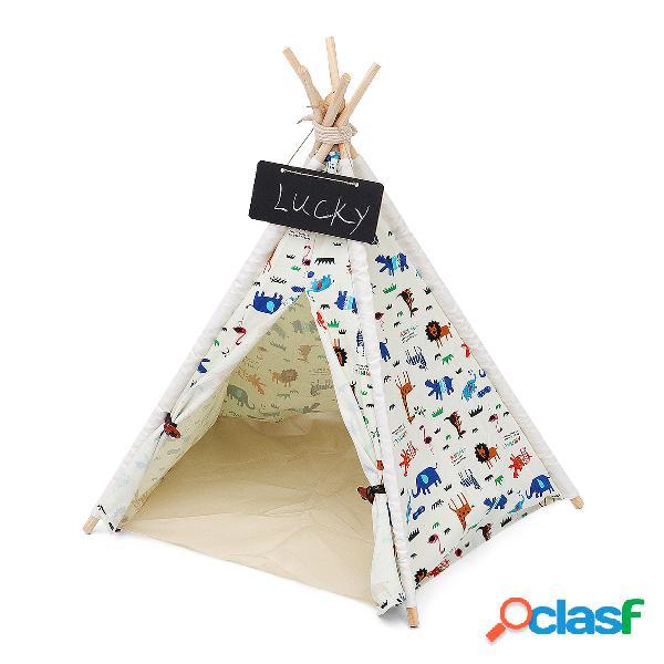 Animais de estimação tenda tenda cães casa lona pretend play playhouse tipi ao ar livre indoor