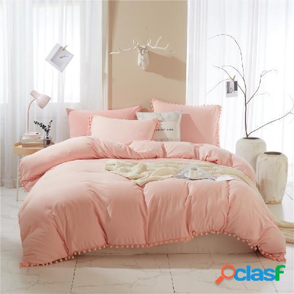 Cama pom pom capa de edredão conjunto bola franja têxtil de casa cor sólida conjuntos de cama soft capa de edredão de microfibra