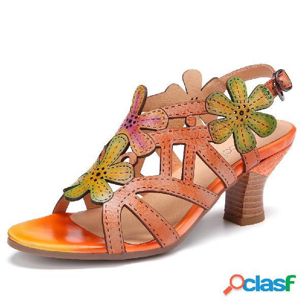 Socofy couro artesanal recortes florais fivela cinta slingback salto médio sandálias de salto robusto
