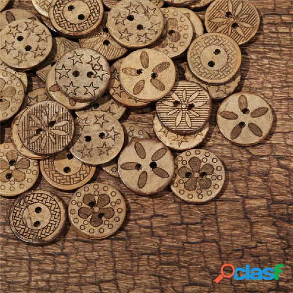 50 pcs de coco shell botões de costura estilo retro preto e cor marrom botões de decoração