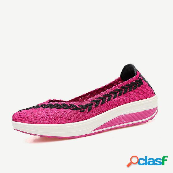 Tecidos de malha elastic casual shoes