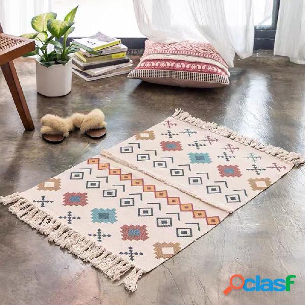 Tapete de algodão e linho em casa sala de estar sofá mesa de café almofada para a porta tapete pode ser lavado na máquina