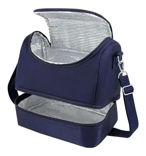 Bolsa térmica fitness lancheira marmita 2 compartimentos