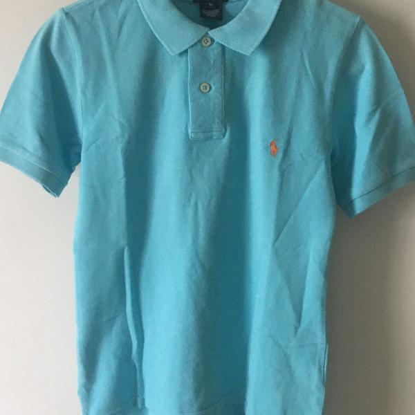 Camisa polo by ralph lauren m pequena azul usada