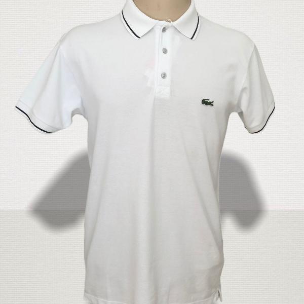Camisa polo lacoste live branca com preto original nova!
