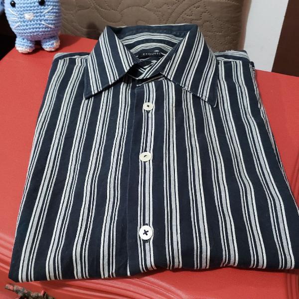 Camisa social manga comprida listrada azul marinho e branco