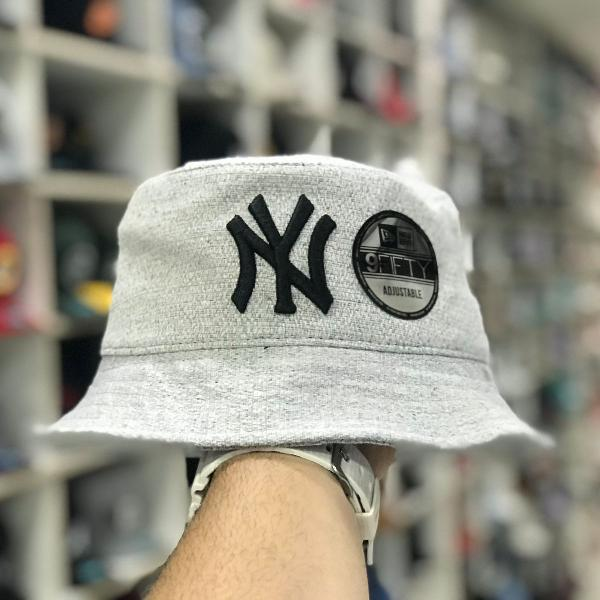 Chapéu bucket hat new era new york yankees grey