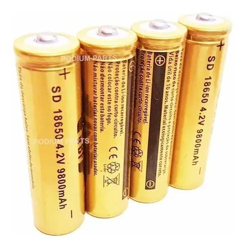 Kit 4 bateria 18650 gold 4,2v para lanterna tática led