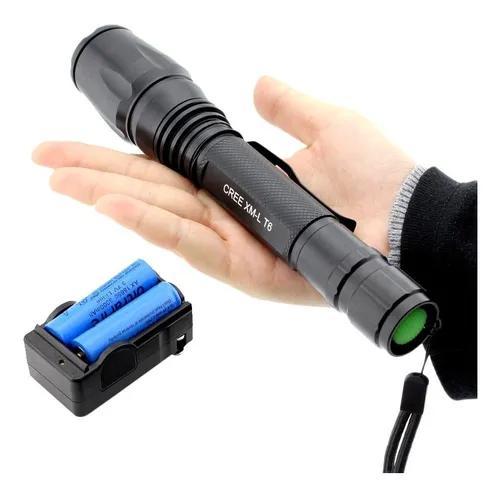 Lanterna tática profissional led t6 foco móvel