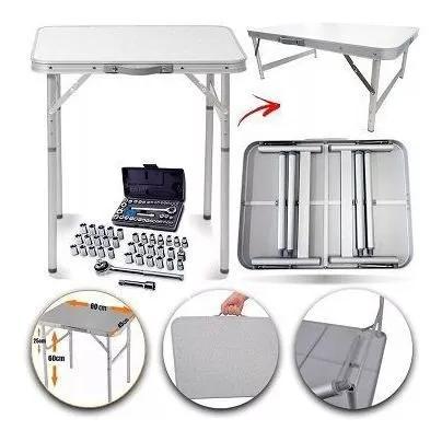 Mesa dobrável alumínio 90x60cm camping + ferramenta 40pçs