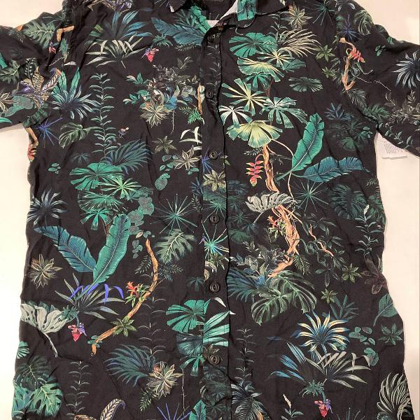 Camisa estilo floral com estampa de floresta masculina