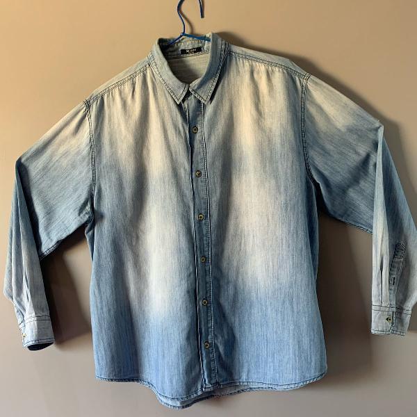 camisa jeans manga longa hering