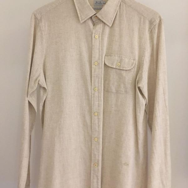 Camisa linho algodão bege