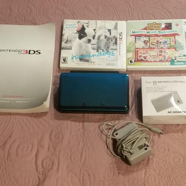 Nintendo 3ds azul, animal crossing home designer e