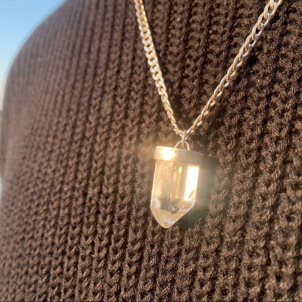 Pingente de prata 950 cristal quartzo