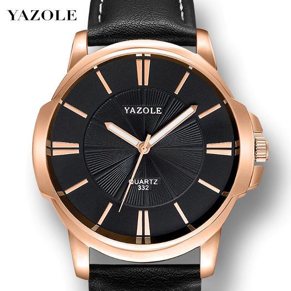 Relógio masculino yazole 332 pulseira de couro