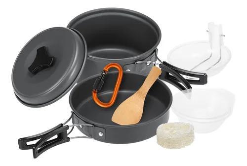 10pcs camping panelas mess kit cookset cozinha ao ar livre