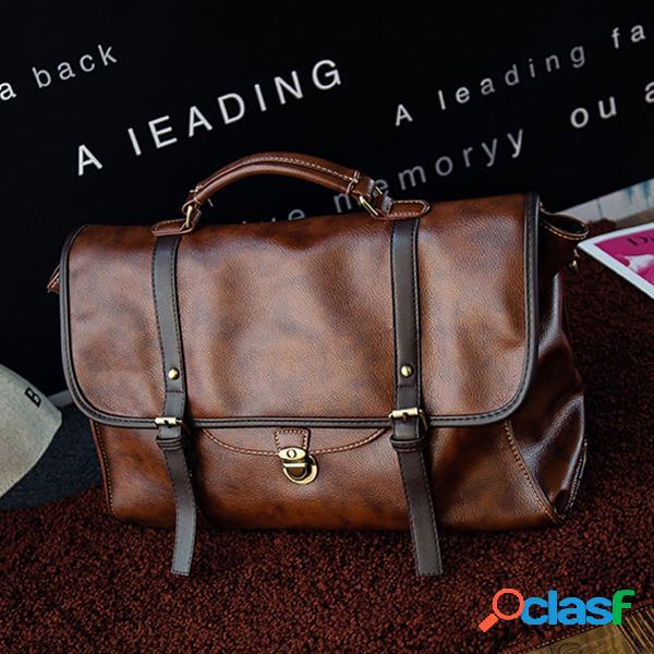 Vintage flap messenger bolsa ombro em couro pu bolsa mochilas