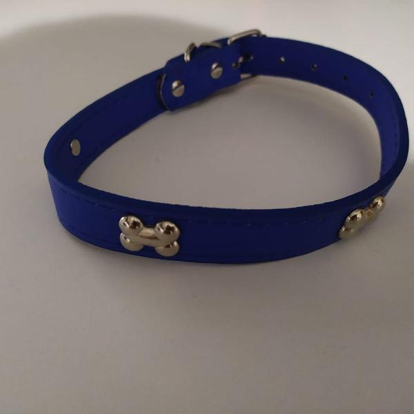 Coleira de cachorro pequeno e médio porte azul 3 ossos