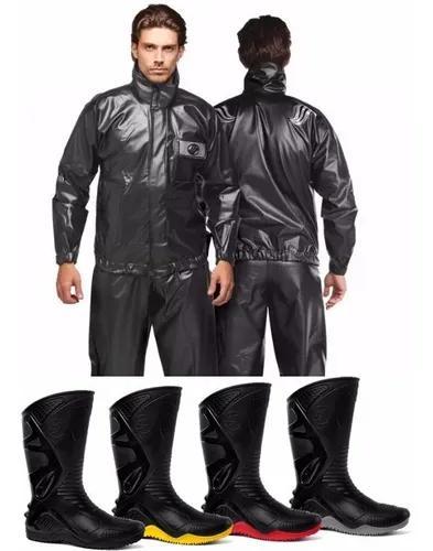 Conjunto capa chuva alba + bota motosafe motoqueiro motoboy