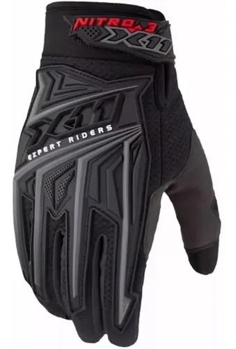 Luva x11 nitro 3 masculino preta motoqueiro bike proteção