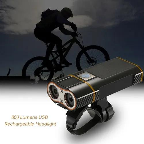 Super bright bicicleta luz usb recarregável 800 lumens