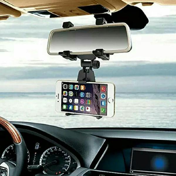Suporte veicular para celular fixado no espelho retrovisor
