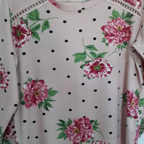 Blusa de malha floral tam g