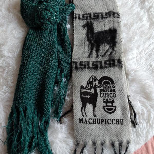 Dois cachecóis : malha de tricô e lã