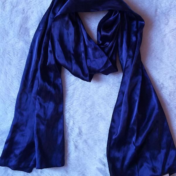 Lenço cetim azul escuro