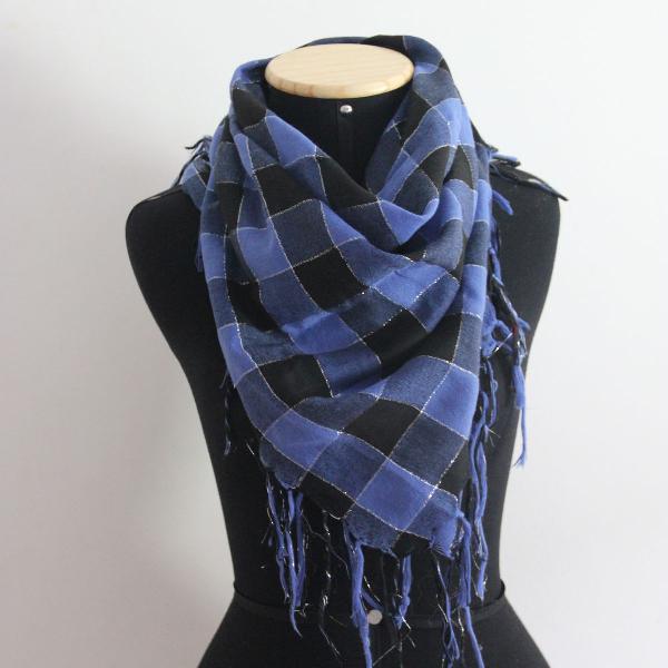 Lenço de algodão xadrez azul com preto
