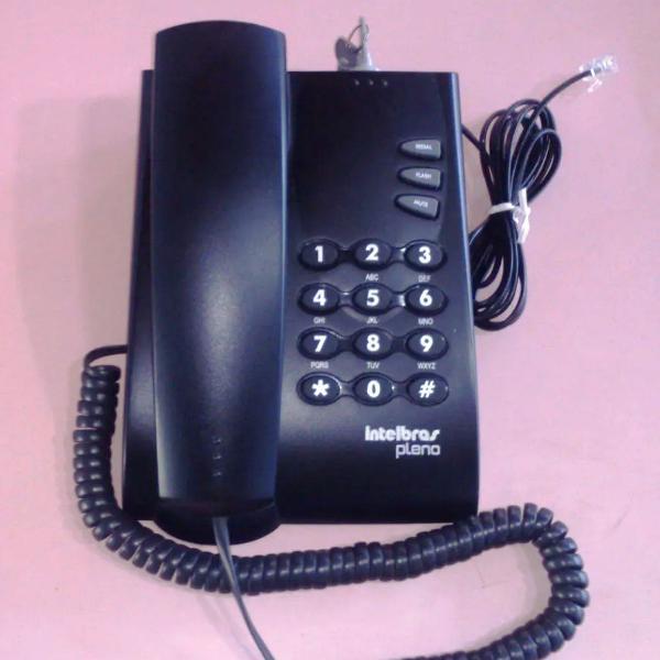 Telefone intelbras com fio pleno preto com chave usado